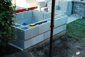 Cascading with concrete blocks