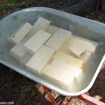 Firebricks dipped in water before cutting with diamond wheel.