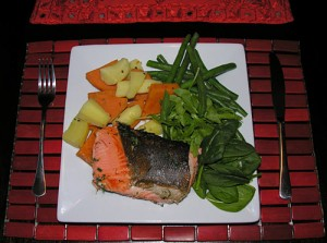 Recipe salmon with healthy dill herb and veggies.