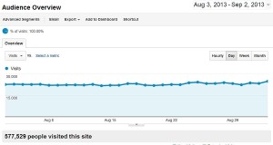 Analytics by Google 30-days visits statistics