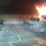 Commercial oven internal firing chamber.