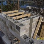 Greg's concrete block walls in Masterly Tail oven building.