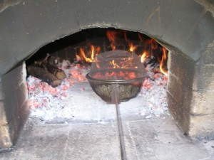 Roasting coffee in wood fired ovens.