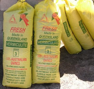 Vermiculite in bags used for insulation