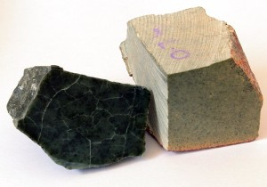 Two colors of soapstone, dark green and light brown versions.