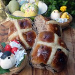 Easter hot cross buns baked in wood fired oven