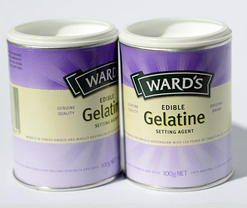 Two edible gelatin packages.