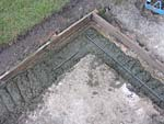 Concreting foundation with concrete slab.
