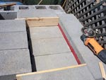 Angle iron in place for concreting.