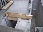 Angle iron under concrete.