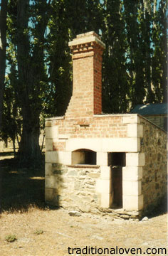 Photograph of a federation time wood brick oven building design.