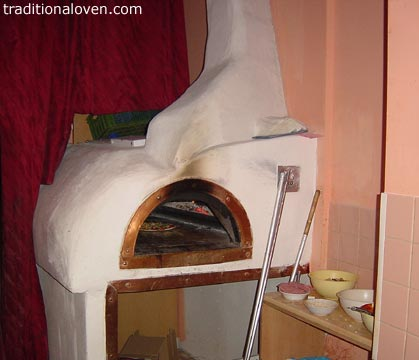 Picture of refractory wood fired oven made in a pizza shop in Martin city, Slovakia.