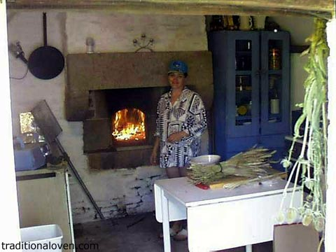 This is a picture of French country style kitchen with wood burning oven.