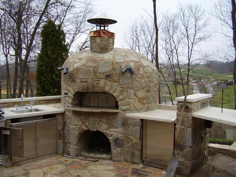Cappo Masonry project photo; stone wood fired oven.