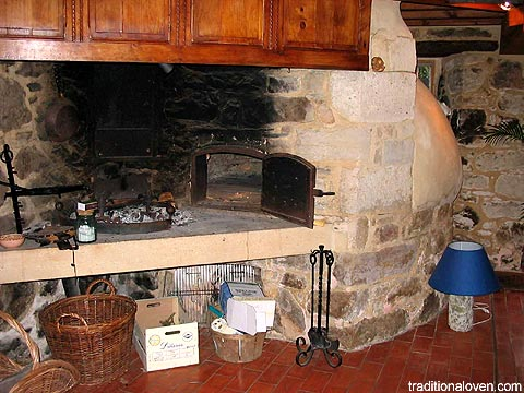 Indoor wood fired oven and fireplace.