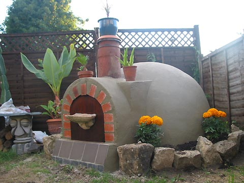 Garden with on the ground round funtastic dome object.