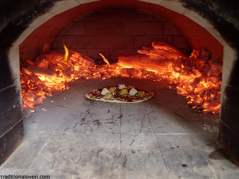Wood Fire And Making Pizzas In Hot Atmosphere