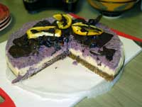 Whole raw cheese cake blueberry and lemon lime.