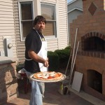 Pizzas cooked by Anthony in his brick pizza oven.