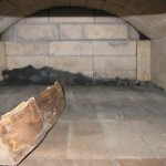 The inside of a outdoor wood fired oven.