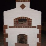 Facing brick wall on pizza oven.