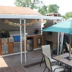 Pizza oven in outdoor kitchen.