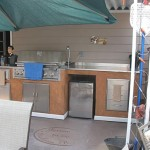 Pizza oven in outside kitchen.