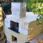 Stucco finish on pizza oven.