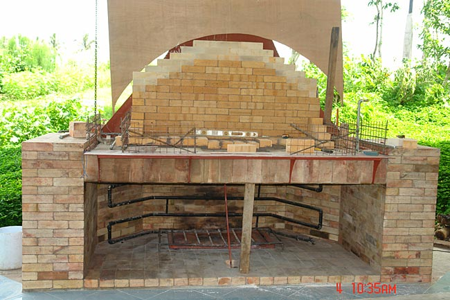Picture # 2. Then, I built my brick oven on top of it. I triple