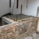 Concrete hearth slab laid.