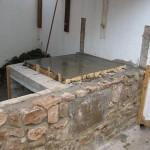 Concrete hearth slab laid.