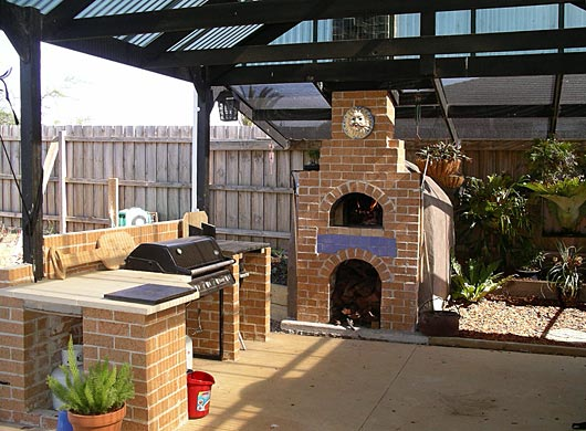 Outdoors Kitchen With Oven For Pizza. Making ...