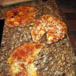Pizzas cooked in Pompeii oven.