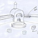 Sketch showing pizza oven and BBQ combo.