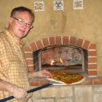 Pompeii pizza oven built by Tom.