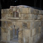 Stone walls oven building.