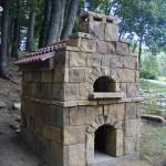 Stone walls pizza oven.