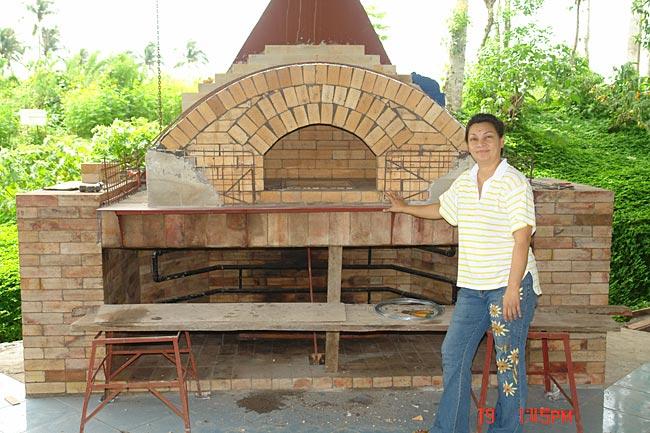 Oven with triple brick arch design brick dome.