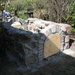 Walls made from a reused cut up field stone.