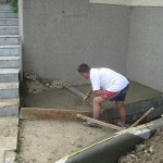 backofen finishing concreting the oven's slab