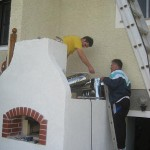 backofen installing tall stainless steel chimney pipe