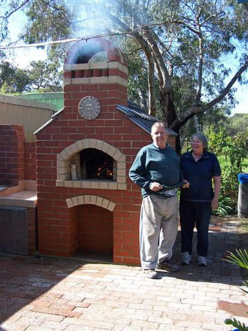 Birthday present brick oven.