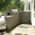 Kitchen and oven done in stone.