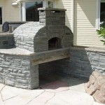 Pizza oven built in stones.