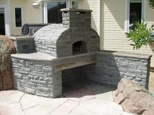 Pizza oven built in stones.