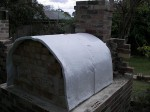 Ceramic fiber insulation in brick pizza oven.
