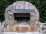 Firebricks forming pizza oven dome