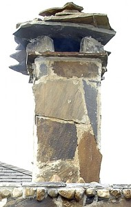 Slate stone chimney and outside oven walls.