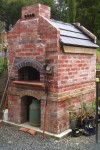 Brick pizza oven built by Jamie and Katrina.