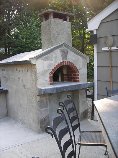 Concrete blocks used for oven's outer walls.